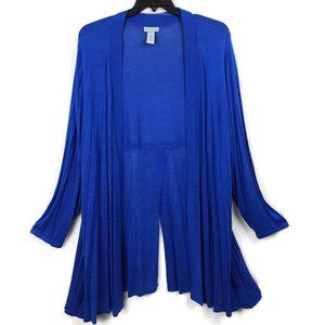 Catherines 4X 30 32 Blue Knit Open Front Cardigan